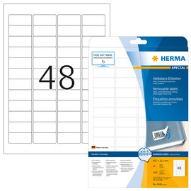 Etiketten Inkjet+Laser+Kopier 45,7x21,2mm auf A4 Bögen Movables weiß wiederablösbar Herma 4346 (PACK=1200 STÜCK) Produktbild