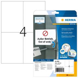 Etiketten Inkjet+Laser+Kopier 105x148mm auf A4 Bögen Movables weiß wiederablösbar Herma 5082 (PACK=100 STÜCK) Produktbild
