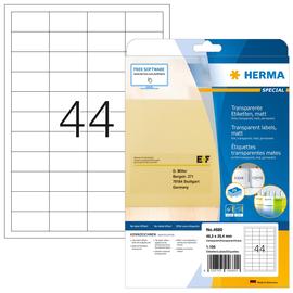 Folien-Etiketten Laser+Kopier 48,3x25,4mm auf A4 Bögen wetterfest+ alterungsbest. transparent Herma 4680 (PACK=1100 STÜCK) Produktbild