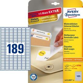 Etiketten Inkjet+Laser+Kopier 25,4x10mm auf A4 Bögen weiß wiederablösbar Zweckform L4731REV-25 (PACK=5670 STÜCK) Produktbild