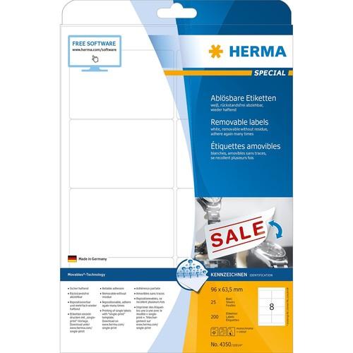 Etiketten Inkjet+Laser+Kopier 96x63,5mm auf A4 Bögen Movables weiß wiederablösbar Herma 4350 (PACK=200 STÜCK) Produktbild Additional View 1 L
