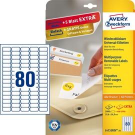 Etiketten Inkjet+Laser+Kopier 35,6x16,9mm auf A4 Bögen weiß wiederablösbar Zweckform L4732REV-25 (PACK=2400 STÜCK) Produktbild