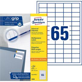 Etiketten Inkjet+Laser+Kopier 38x21,2mm auf A4 Bögen weiß Zweckform 3666 (PACK=6500 STÜCK) Produktbild