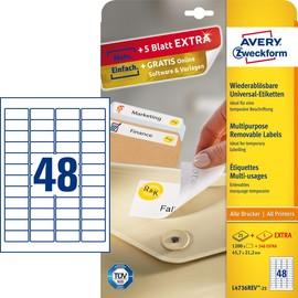 Etiketten Inkjet+Laser+Kopier 45,7x21,2mm auf A4 Bögen weiß wiederablösbar Zweckform L4736REV-25 (PACK=1440 STÜCK) Produktbild