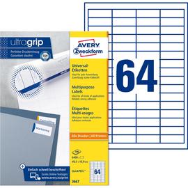 Etiketten Inkjet+Laser+Kopier 48,5x16,9mm auf A4 Bögen weiß Zweckform 3667 (PACK=6400 STÜCK) Produktbild