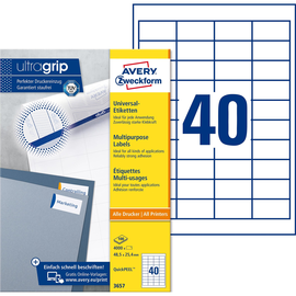 Etiketten Inkjet+Laser+Kopier 48,5x25,4mm auf A4 Bögen weiß Zweckform 3657 (PACK=4000 STÜCK) Produktbild
