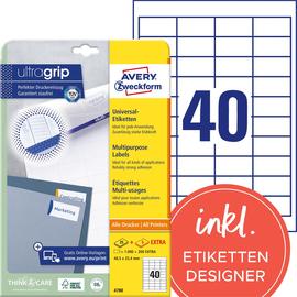 Etiketten Inkjet+Laser+Kopier 48,5x25,4mm auf A4 Bögen weiß Zweckform 4780 (PACK=1200 STÜCK) Produktbild