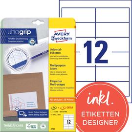 Etiketten Inkjet+Laser+Kopier 97x42,3mm auf A4 Bögen weiß Zweckform 4781 (PACK=360 STÜCK) Produktbild