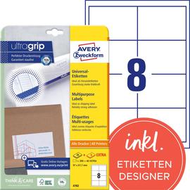 Etiketten Inkjet+Laser+Kopier 97x67,7mm auf A4 Bögen weiß Zweckform 4782 (PACK=240 STÜCK) Produktbild