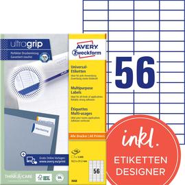 Etiketten Inkjet+Laser+Kopier 52,5x21,2mm auf A4 Bögen weiß Zweckform 3668 (PACK=5600 STÜCK) Produktbild
