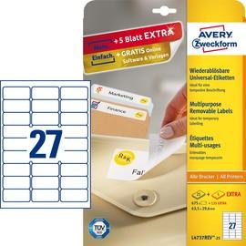 Etiketten Inkjet+Laser+Kopier 63,5x29,6mm auf A4 Bögen weiß wiederablösbar Zweckform L4737REV-25 (PACK=810 STÜCK) Produktbild