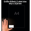 Etiketten Inkjet+Laser+Kopier 64,4x33,8mm auf A4 Bögen weiß Zweckform 3658 (PACK=2400 STÜCK) Produktbild Additional View 6 S