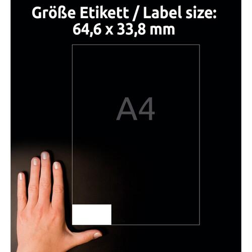 Etiketten Inkjet+Laser+Kopier 64,4x33,8mm auf A4 Bögen weiß Zweckform 3658 (PACK=2400 STÜCK) Produktbild Additional View 6 L
