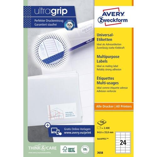 Etiketten Inkjet+Laser+Kopier 64,4x33,8mm auf A4 Bögen weiß Zweckform 3658 (PACK=2400 STÜCK) Produktbild Additional View 1 L