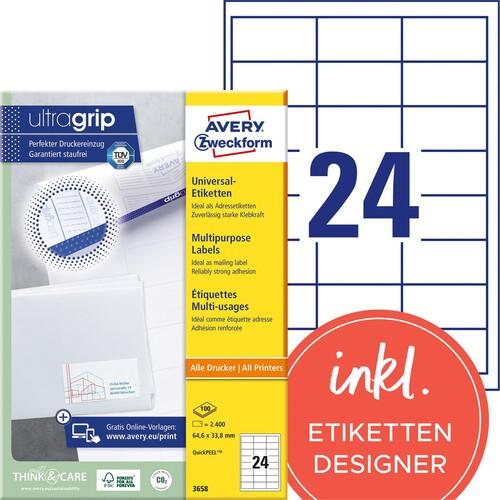 Etiketten Inkjet+Laser+Kopier 64,4x33,8mm auf A4 Bögen weiß Zweckform 3658 (PACK=2400 STÜCK) Produktbild