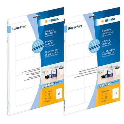 Disketten-Etiketten Inkjet+Laser+Kopier 70x50,8mm auf A4 Bögen weiß permanent Herma 4353 (PACK=250 STÜCK) Produktbild Additional View 5 L