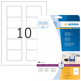 Disketten-Etiketten Inkjet+Laser+Kopier 70x50,8mm auf A4 Bögen weiß permanent Herma 4353 (PACK=250 STÜCK) Produktbild