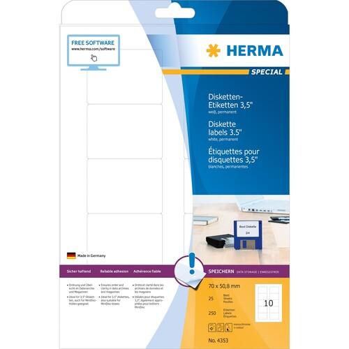 Disketten-Etiketten Inkjet+Laser+Kopier 70x50,8mm auf A4 Bögen weiß permanent Herma 4353 (PACK=250 STÜCK) Produktbild Additional View 1 L