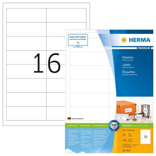 Etiketten PREMIUM Inkjet+Laser+Kopier 96,5x33,8mm auf A4 Bögen weiß permanent Herma 4619 (PACK=3200 STÜCK) Produktbild