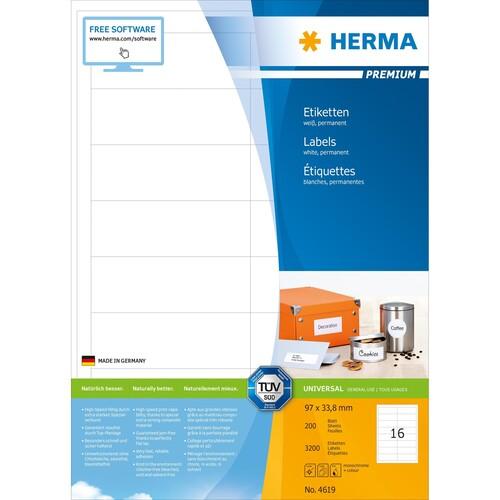 Etiketten PREMIUM Inkjet+Laser+Kopier 96,5x33,8mm auf A4 Bögen weiß permanent Herma 4619 (PACK=3200 STÜCK) Produktbild Additional View 1 L