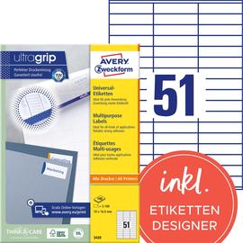 Etiketten Inkjet+Laser+Kopier 70x16,9mm auf A4 Bögen weiß Zweckform 3420 (PACK=5100 STÜCK) Produktbild