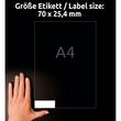 Etiketten Inkjet+Laser+Kopier 70x25,4mm auf A4 Bögen weiß Zweckform 3421 (PACK=3300 STÜCK) Produktbild Additional View 6 S