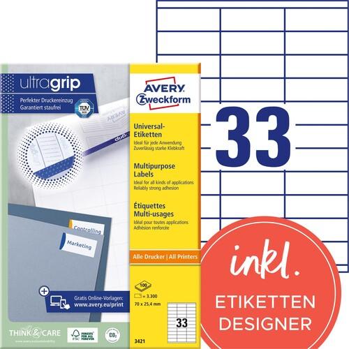 Etiketten Inkjet+Laser+Kopier 70x25,4mm auf A4 Bögen weiß Zweckform 3421 (PACK=3300 STÜCK) Produktbild