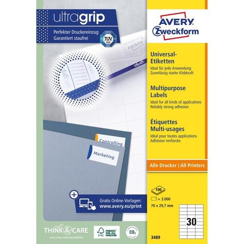Etiketten Inkjet+Laser+Kopier 70x29,7mm auf A4 Bögen weiß Zweckform 3489 (PACK=3000 STÜCK) Produktbild Additional View 1 L