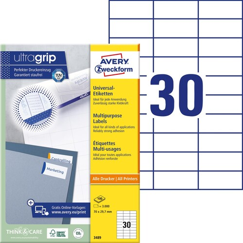 Etiketten Inkjet+Laser+Kopier 70x29,7mm auf A4 Bögen weiß Zweckform 3489 (PACK=3000 STÜCK) Produktbild