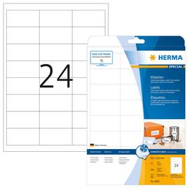 Etiketten Inkjet 66x33,8mm auf A4 Bögen weiß Foto-Qualität permanent Herma 4820 (PACK=600 STÜCK) Produktbild