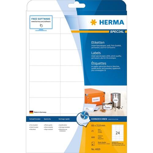 Etiketten Inkjet 66x33,8mm auf A4 Bögen weiß Foto-Qualität permanent Herma 4820 (PACK=600 STÜCK) Produktbild Additional View 1 L