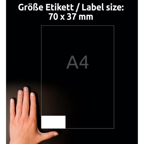 Etiketten Inkjet+Laser+Kopier 70x37mm auf A4 Bögen weiß Zweckform 3474 (PACK=2400 STÜCK) Produktbild Additional View 6 L