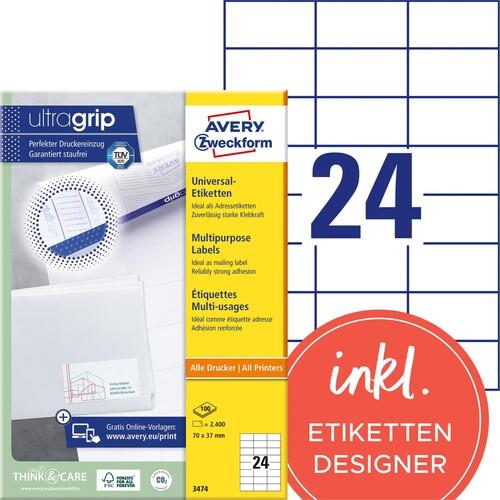 Etiketten Inkjet+Laser+Kopier 70x37mm auf A4 Bögen weiß Zweckform 3474 (PACK=2400 STÜCK) Produktbild