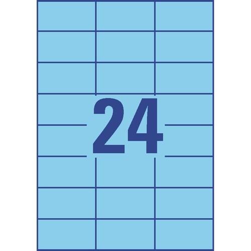 Etiketten Inkjet+Laser+Kopier 70x37mm auf A4 Bögen blau Zweckform 3449 (PACK=2400 STÜCK) Produktbild Additional View 2 L