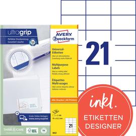 Etiketten Inkjet+Laser+Kopier 70x42,3mm auf A4 Bögen weiß Zweckform 3652 (PACK=2100 STÜCK) Produktbild