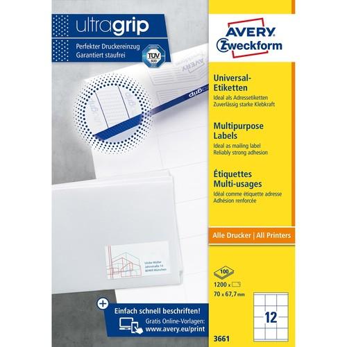 Etiketten Inkjet+Laser+Kopier 70x67,7mm auf A4 Bögen weiß Zweckform 3661 (PACK=1200 STÜCK) Produktbild Additional View 1 L
