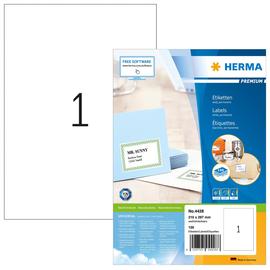 Etiketten PREMIUM Inkjet+Laser+Kopier 210x297mm A4 weiß permanent Herma 4428 (PACK=100 STÜCK) Produktbild