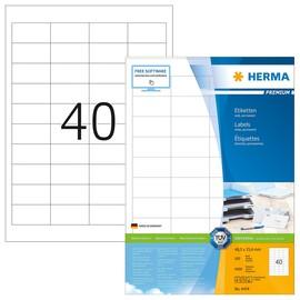 Etiketten PREMIUM Inkjet+Laser+Kopier 48,5x25,4mm auf A4 Bögen weiß permanent Herma 4474 (PACK=4000 STÜCK) Produktbild