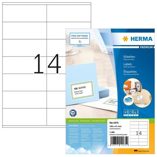 Etiketten PREMIUM Inkjet+Laser+Kopier 105x41mm auf A4 Bögen weiß permanent Herma 4475 (PACK=1400 STÜCK) Produktbild