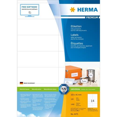 Etiketten PREMIUM Inkjet+Laser+Kopier 105x41mm auf A4 Bögen weiß permanent Herma 4475 (PACK=1400 STÜCK) Produktbild Additional View 1 L