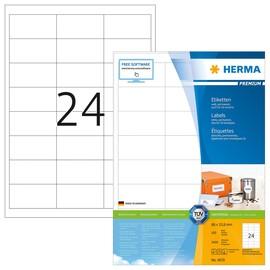 Etiketten PREMIUM Inkjet+Laser+Kopier 66x33,8mm auf A4 Bögen weiß permanent Herma 4670 (PACK=2400 STÜCK) Produktbild
