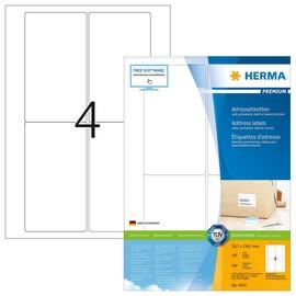 Etiketten PREMIUM Inkjet+Laser+Kopier 78,7x139,7mm auf A4 Bögen weiß permanent Herma 4472 (PACK=400 STÜCK) Produktbild