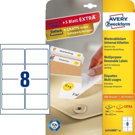 Etiketten Inkjet+Laser+Kopier 96x63,5mm auf A4 Bögen weiß wiederablösbar Zweckform L4745REV-25 (PACK=240 STÜCK) Produktbild