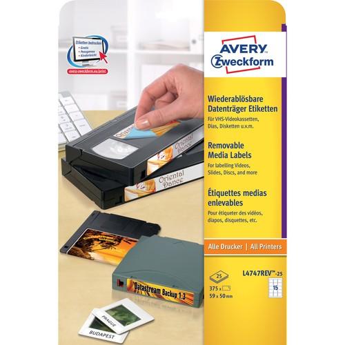Disketten-Etiketten Inkjet+Laser+Kopier 59x50mm auf A4 Bögen weiß wiederablösbar Zweckform L4747REV-25 (PACK=375 STÜCK) Produktbild Additional View 1 L