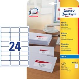 Adress-Etiketten Inkjet 63,5x33,9mm auf A4 Bögen weiß schnelltrocknend Zweckform J8159-25 (PACK=600 STÜCK) Produktbild