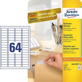 Sichtreiter-Etiketten Inkjet+Laser 45,7x16,9mm auf A4 Bögen weiß wiederablösbar Zweckform L6021REV-25 (PACK=1600 STÜCK) Produktbild