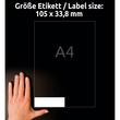 Etiketten Inkjet+Laser+Kopier 105x33,8mm auf A4 Bögen weiß Zweckform 3665 (PACK=1600 STÜCK) Produktbild Additional View 6 S