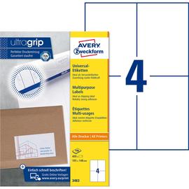 Etiketten Inkjet+Laser+Kopier 105x148mm auf A4 Bögen weiß Zweckform 3483 (PACK=400 STÜCK) Produktbild