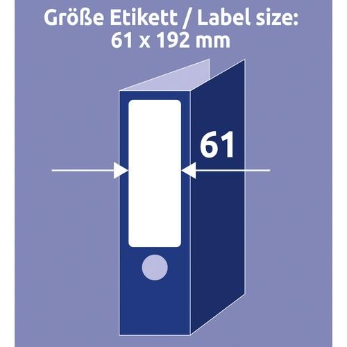 Rückenschilder zum Bedrucken 61x192mm kurz breit auf A4 Bögen weiß selbstklebend Zweckform L4761-100 (PACK=400 STÜCK) Produktbild Additional View 8 L