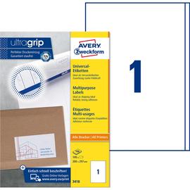 Etiketten Inkjet+Laser+Kopier 200x297mm auf A4 Bögen weiß Zweckform 3418 (PACK=100 STÜCK) Produktbild